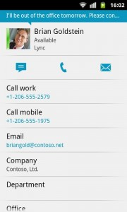 Lync 2013 sur Android