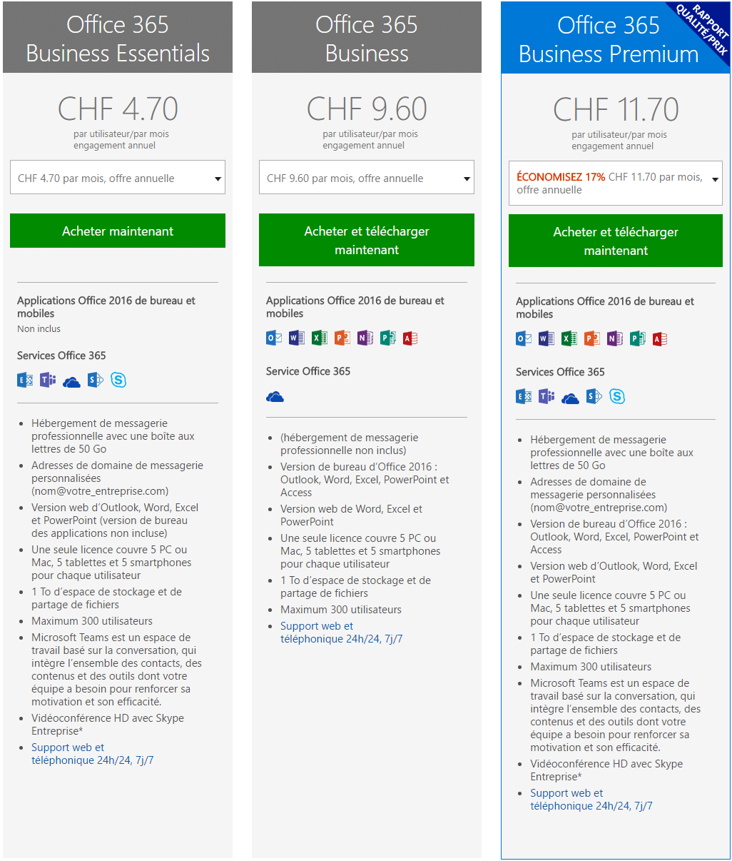Offre Office 365 Business