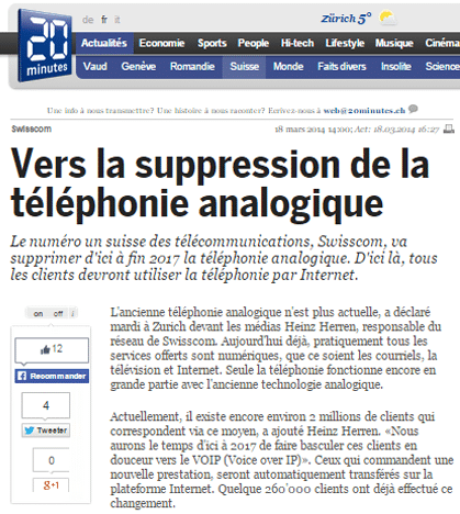 Suppression de la téléphonie analogique